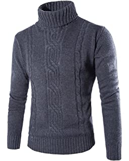 6fd0dbc1929 ZhuiKun Mens Roll Polo Neck Knitted Jumper Long-Sleeved Turtleneck Top Knitted  Sweater