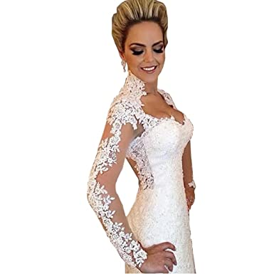 DingDingMail Lace Mermaid Wedding Dresses High Neck Long Sleeves Backless  Vintage Wedding Dresses Plus Size