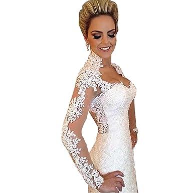 DingDingMail Lace Mermaid Wedding Dresses High Neck Long Sleeves ...