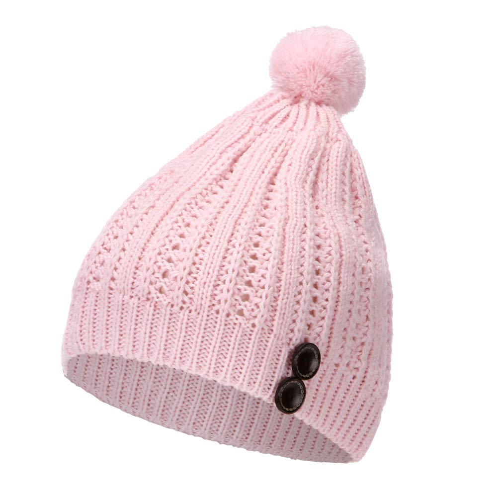 2019 Warm Slouchy Beanie Hat,Women Autumn Winter Beanie Hat Knitting Wool Warm Hats Earmuffs Hat Pink