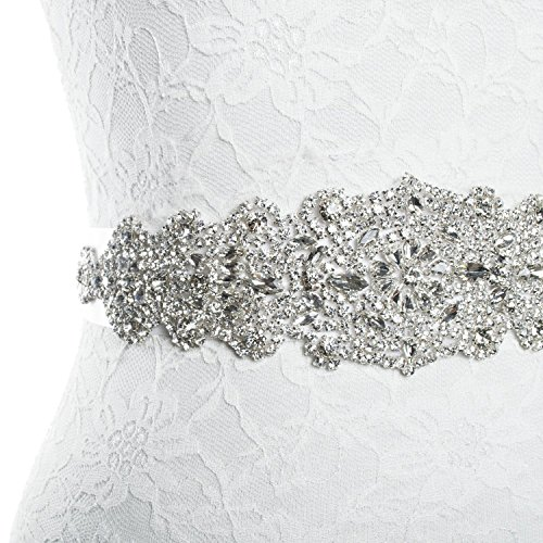 Redowa Rhinestone wedding dress applique patch for bridal sash belt (One Size, Champagne Satin Ribbon)