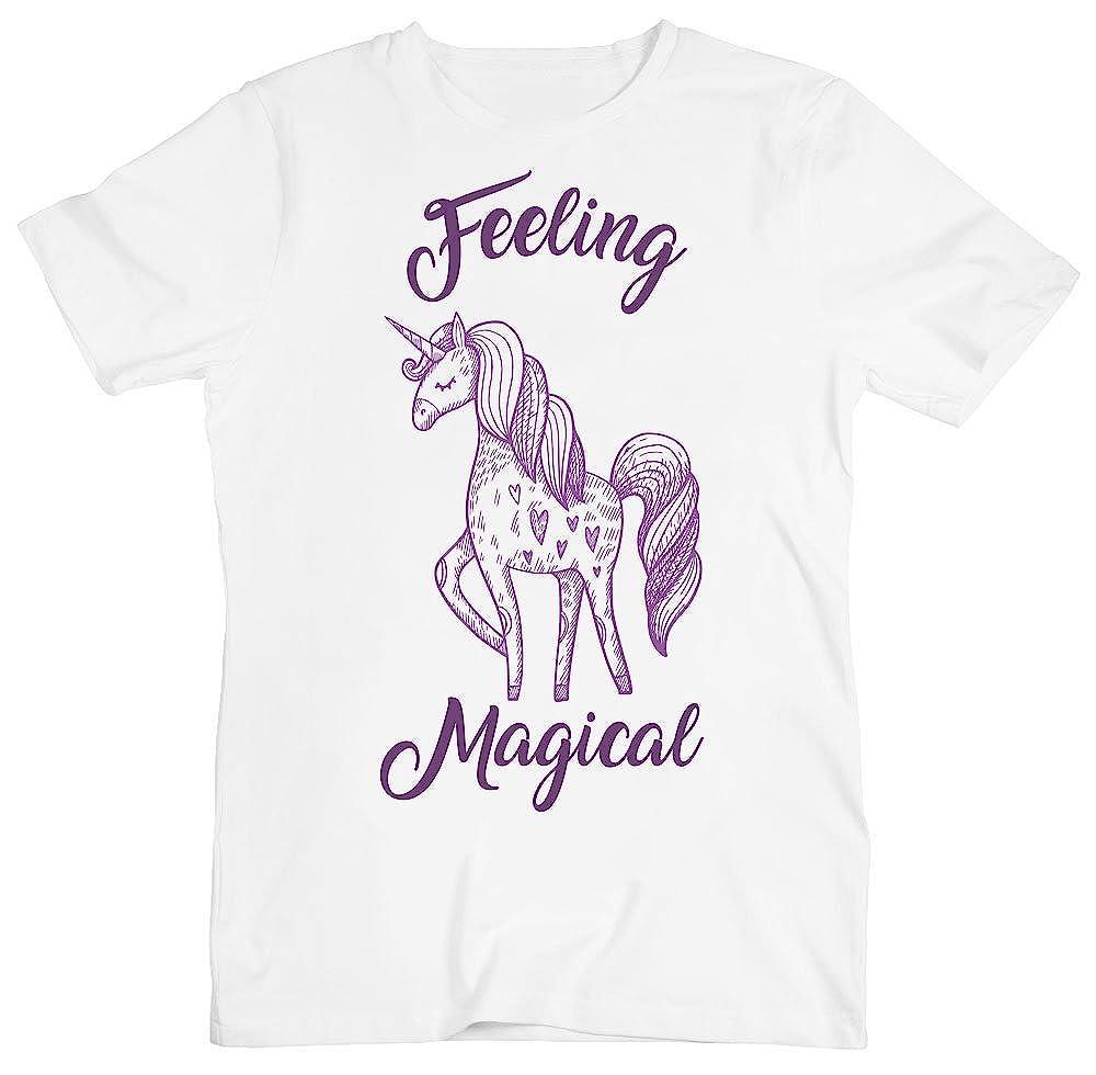 Feeling Magical Awesome Violet Unicorn Mens T-Shirt Large