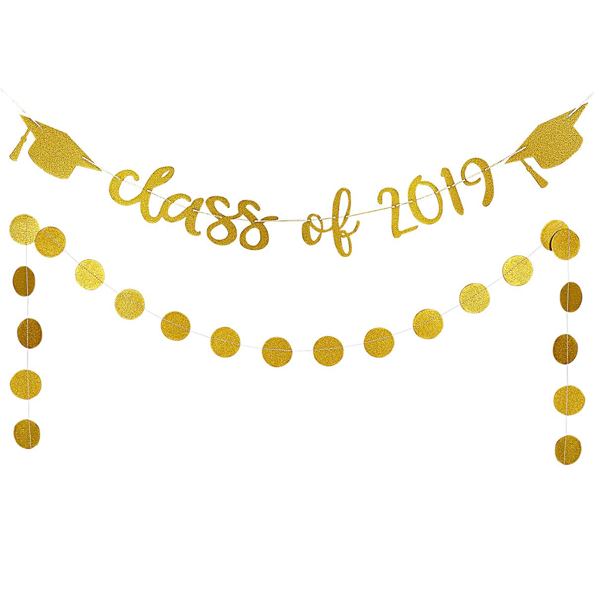 Graduation gold. Party decorations glittery