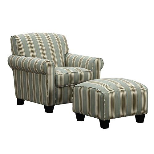 Portfolio Mira Summer Aqua Blue Stripe Living Room Comfortable Arm Chair and Ottoman