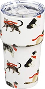 Cypress Home Beautiful Stylin Cat and Dog Double Wall Ceramic Companion Cup with Tritan Lid - 4 x 4 x 6 Inches Indoor/Outdoor home goods For Kitchens, Parties and Homes