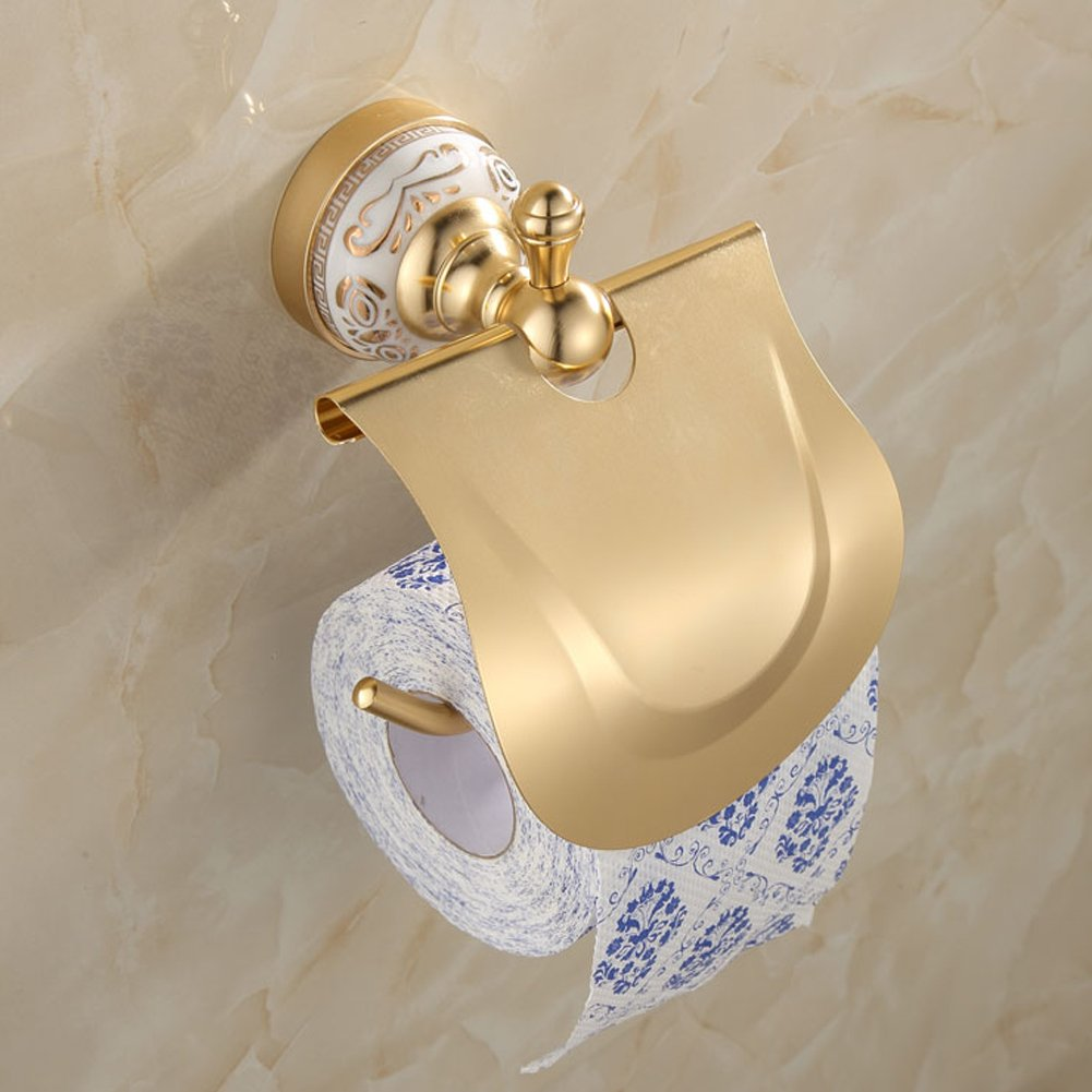 Ibnotuiy European Antique Space Aluminum Wall Mounted Toilet Paper Holder Luxury Ceramic Bathroom Waterproof Tissue Holders Gold