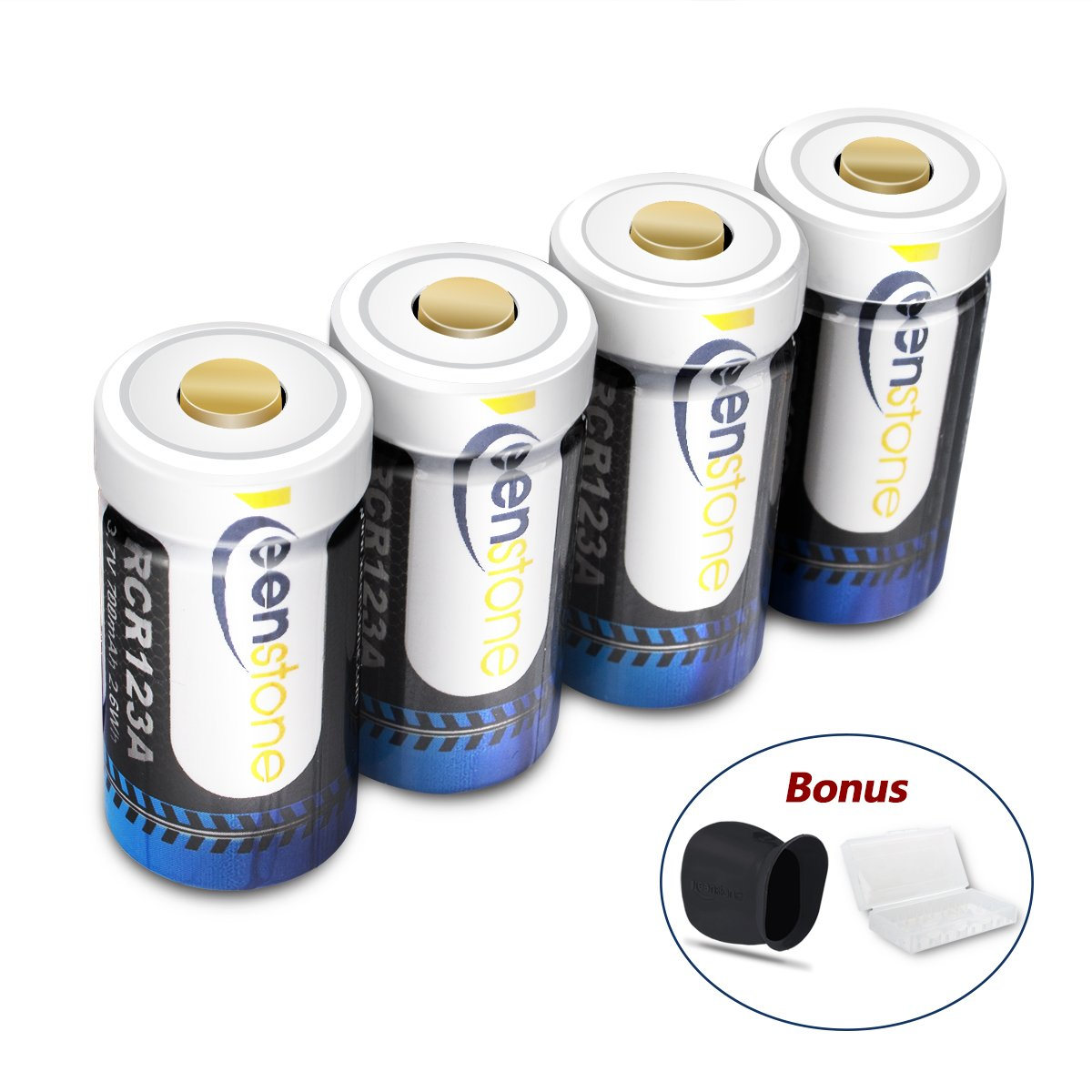 keenstone RCR123A Rechargeable Camera Batteries, 4Pcs 700mAh RCR123A Protected Rechargeable Li-ion Batteries with Camera Skin and Battery Case for Arlo VMS3030/3230/3330/3430 Cameras