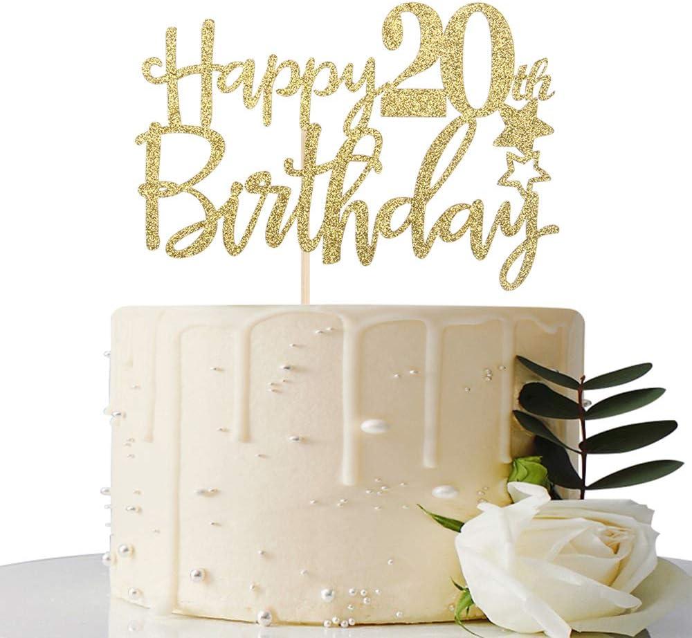Brilliant Amazon Com Gold Glitter Happy 20Th Birthday Cake Topper Hello 20 Birthday Cards Printable Benkemecafe Filternl