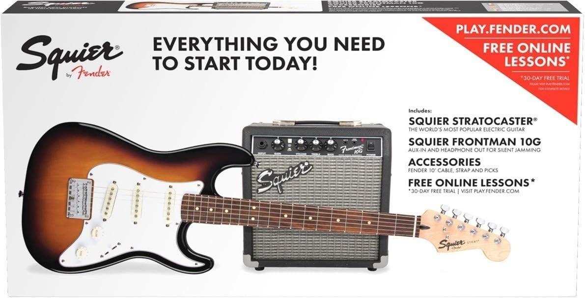 Fender 037-1823-432 Squier Stratocaster Pack Diapasón Laurel Bolsa para Concierto, Marrón (Sunburst), 10 g – 230 V UK, completo