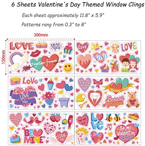Supplies Favor Konsait 130+pcs Valentines Decals Window Stickers Clings Cute Angel,Colorful Heart Window Glass Decor with Static Sticker Decor for Valentines Party Decorations Wedding Anniversary