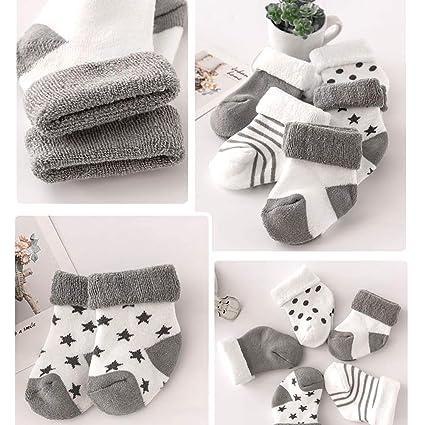 mxdmai 5 Paar Warme Winter Baby Socken Weiche Neugeborene Dicke Socken Exquisite Baumwollsocken f/ür Herbst und Winter Rosa Stern