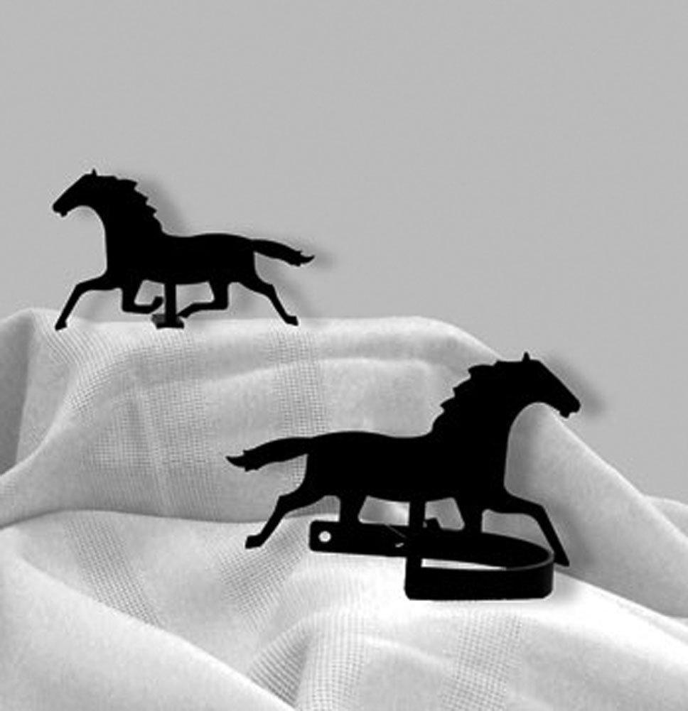 Iron Racing Horse Curtain Hold Tie Backs -Set of 2-Black Metal