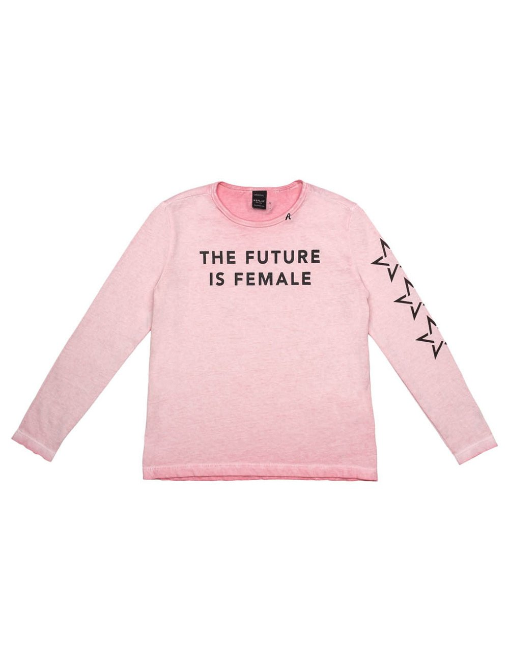 Replay Girls Longsleeved Pink T-Shirt With Print in Size 14 Years Pink