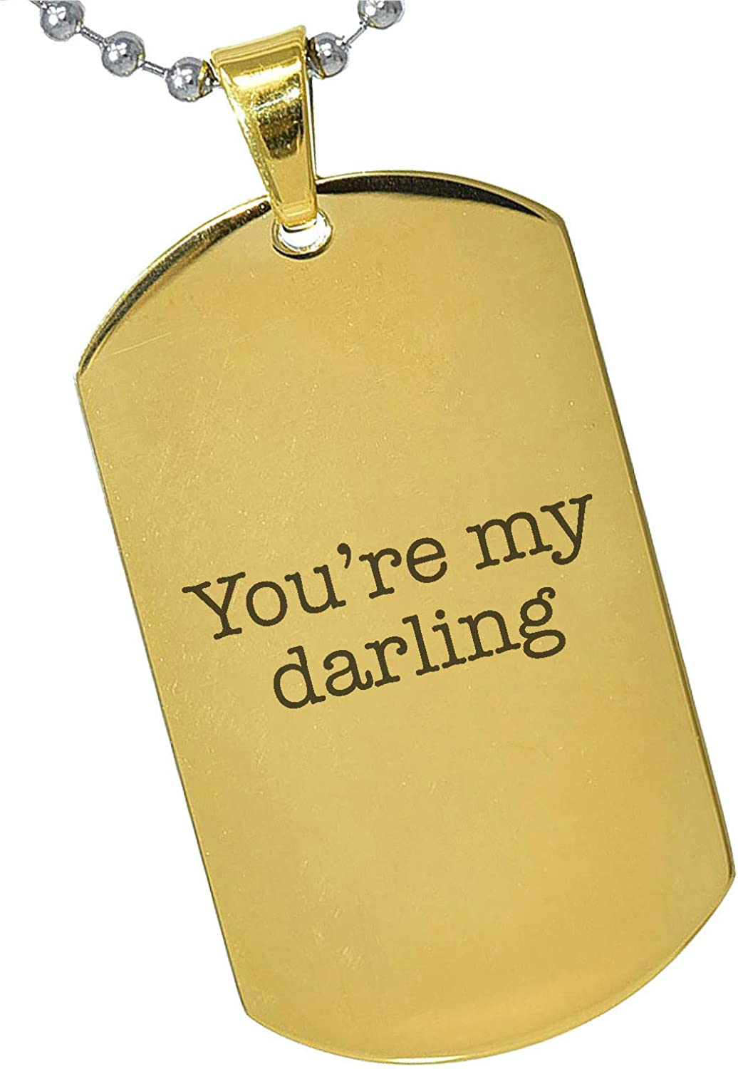 Tungsten King Stainless Steel Silver Gold Black Rose Gold Personalized Gift Darling Quote Special Message Photo Engraving Customizable Pendant Dog Tags 24 Ball Chains