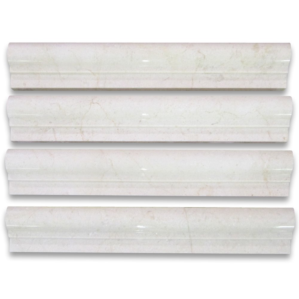 Crema Marfil Spanish Marble Chair Rail Bullnose Trim Molding 2 x 12 Polished