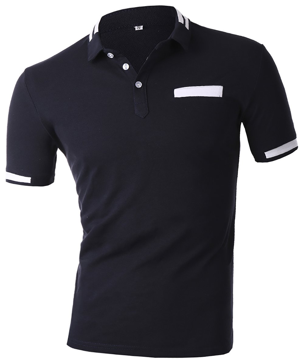HSRKB Men Business Casual Polo T-Shirt-Navy Blue-XL