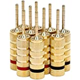 Monoprice 109438 24k Gold Plated Speaker Pin Plugs, Pin Screw Type (5 Pairs)