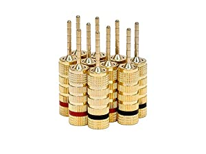 Monoprice Gold Plated Speaker Pin Plugs - 5 Pairs - Pin Screw Type, for Speaker Wire, Home Theater, Wall Plates and More