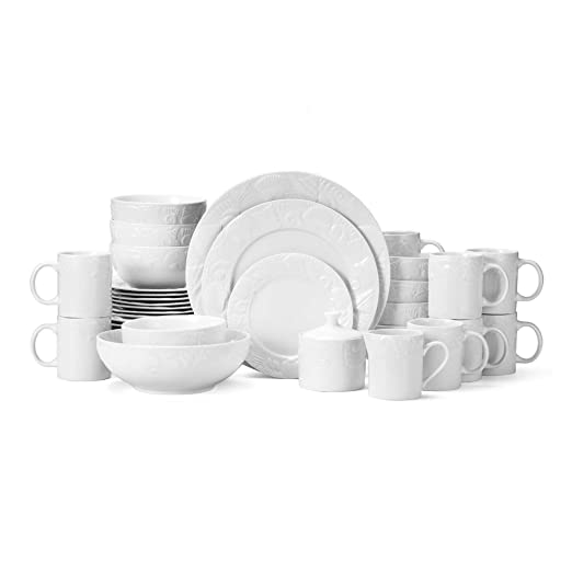Christmas Tablescape Decor - Lido Beach China Raised Seashell Patterns Pristine White Porcelain 37-Pc Dinnerware Set, Service of 8 with 4-Pc Serveware Set by Pfaltzgraff