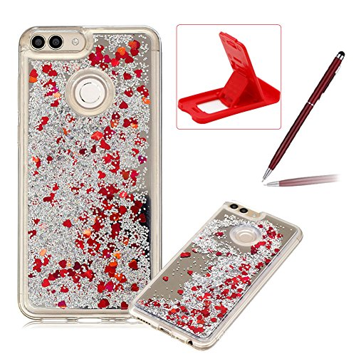 Price comparison product image Mirror Liquid Case for Huawei P Smart,Soft Bumper Clear Cover for Huawei P Smart,Herzzer Luxury Slim Red Glitter Quicksand Love Hearts Sequins Back Case