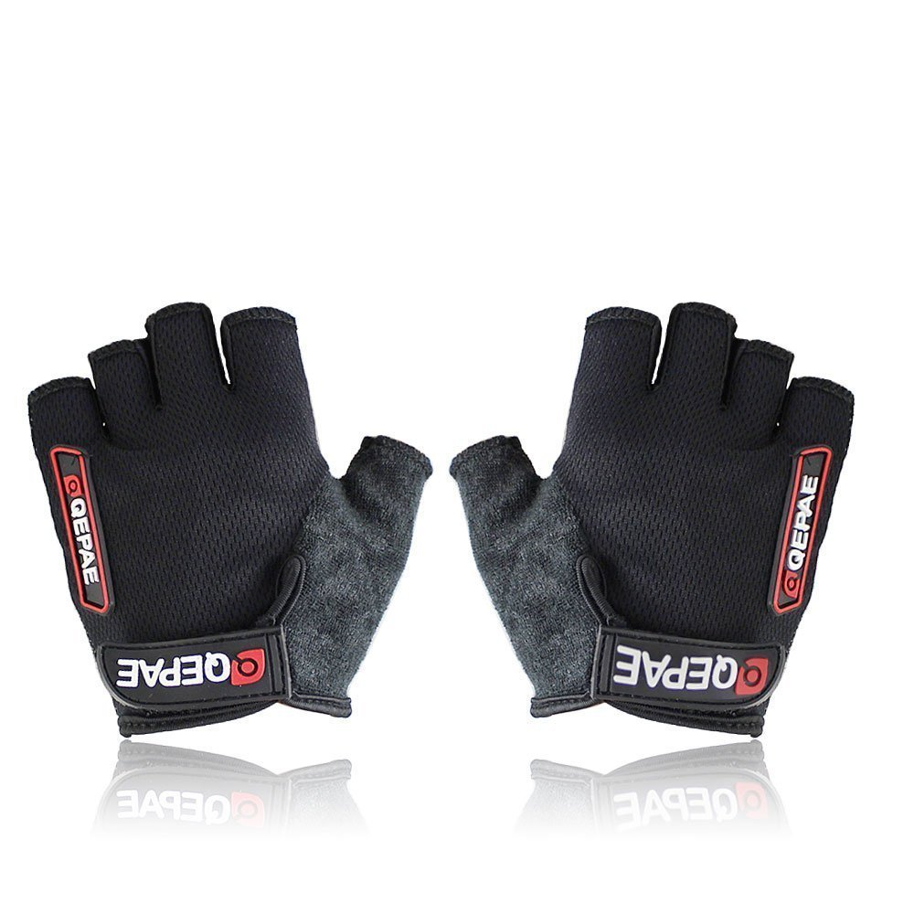 Cycling Gloves Bike Bicycle Gel Gloves Silicone Half Finger (Black, XL(9-10cm))