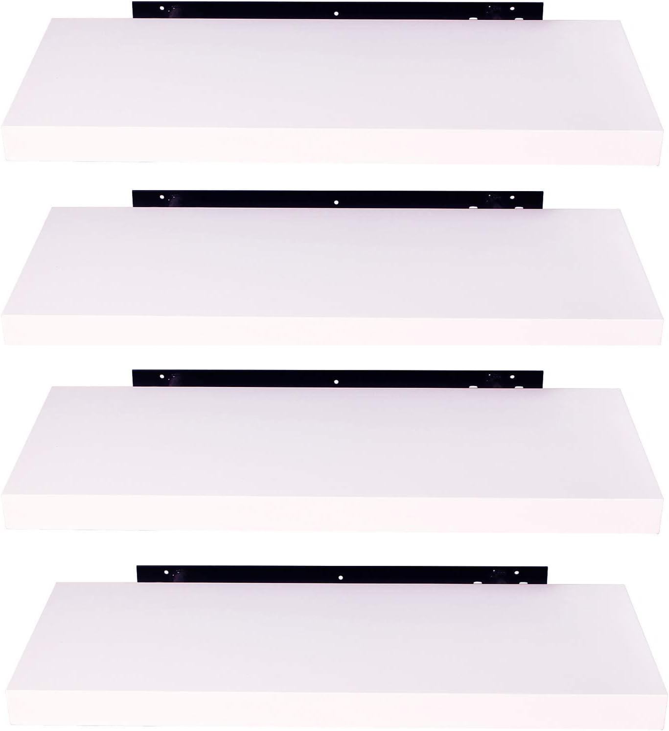 EUGAD Juego de 4 Estantería Pared Madera Blanco Estante Flotante para Colgar Libro CD en Cocina Salon Dormitorio 30cm 0086QJ