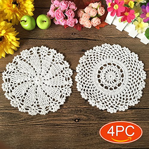 Elesa Miracle Handmade Round Crochet Cotton Lace Table Placemats Doilies Value Pack, 4pc, Mix, Beige / White , 7 Inch (4pc-7 Inch White)