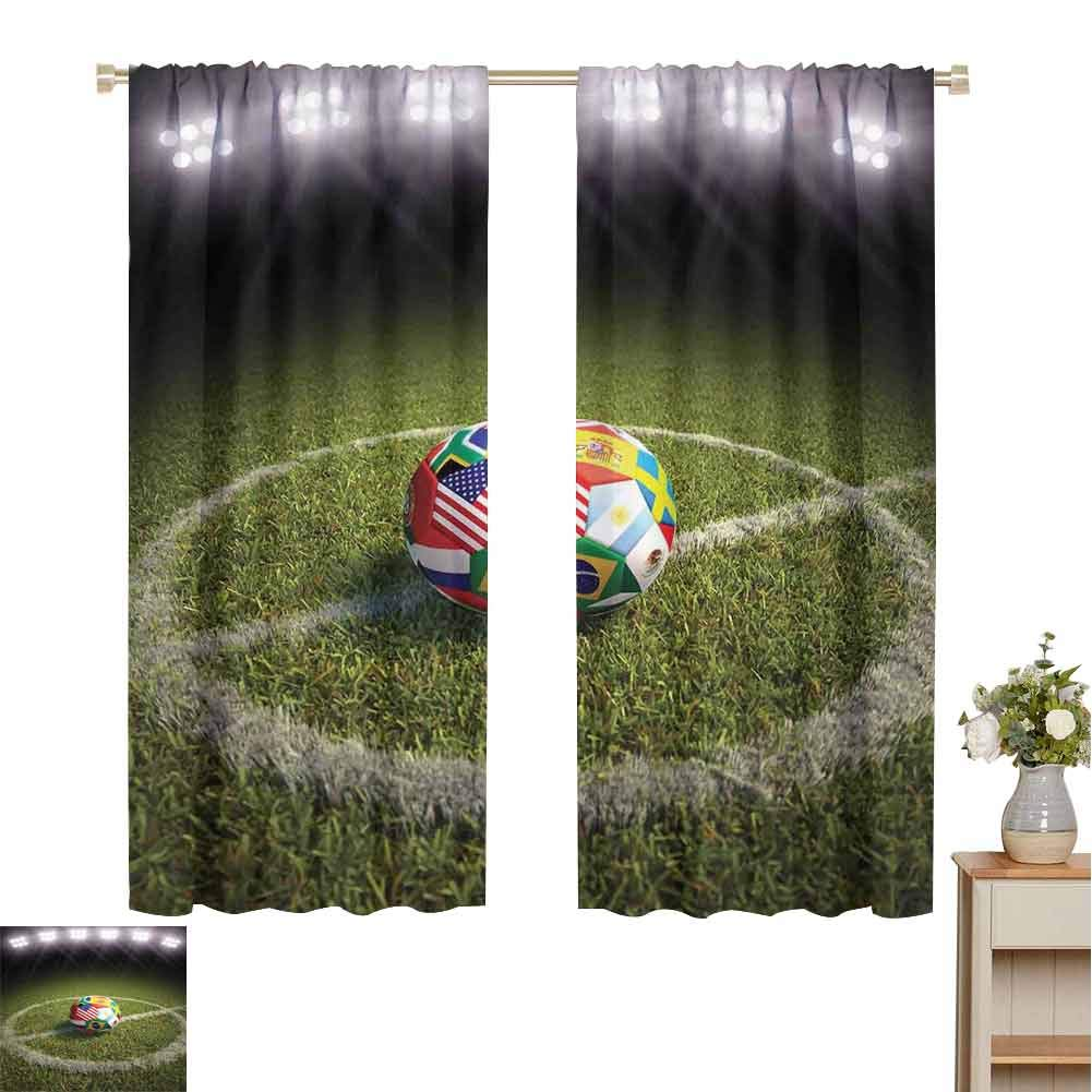 Sports Decor Dark Out Double Layer Curtains for Kids Bedroom, A Soccer Ball on a Soccer Field Printed Flags of The Participating Countries Dark Out Waverly Curtain (63 x 72 Inch) by June Gissing