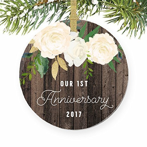 1st Year Anniversary Gifts, First Christmas Married Ornament 2017, Newlywed Wedding Marriage Couple Him Her Keepsake Rustic 3