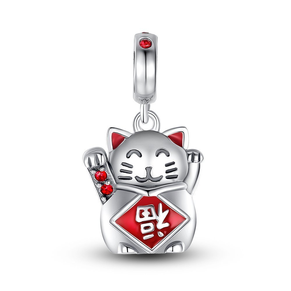 Glamulet Crystal Lucky Cat''FU'' Pendant 925 Sterling Silver Beads Charm Fits for Bracelet&Necklace
