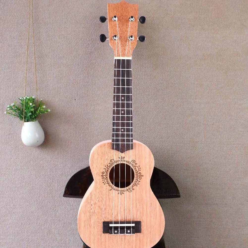 Jacksking Ukulele Ukulele en Bois 21 Pouces 4 Cordes Hawa/ï Guitare Acajou Musical en Bois Instrument De Musique Portable De Soprano Ukulele