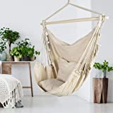 ASTEROUTDOOR Hammock Chair Hanging Rope Swing with 2 Cushions and Wood Spreader Bar for Indoor or Outdoor Use, Beige