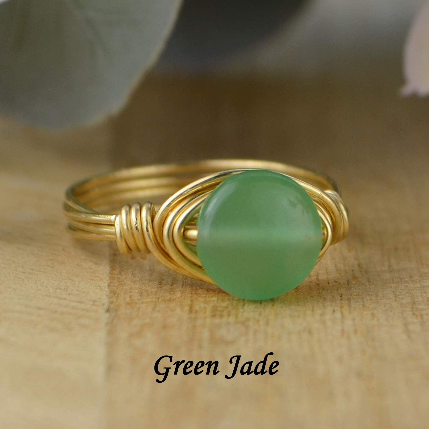Custom made to size 4-14 Round Green Jade Coin Shaped Gemstone Sterling Silver Yellow or Rose Gold Filled Wire Wrapped Ring