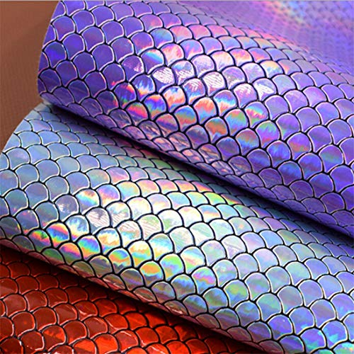 UINKE A4 Size Holographic Iridescent Mermaid Scale Faux Leather Fabric Sheets for Hair Bows Making DIY Crafts