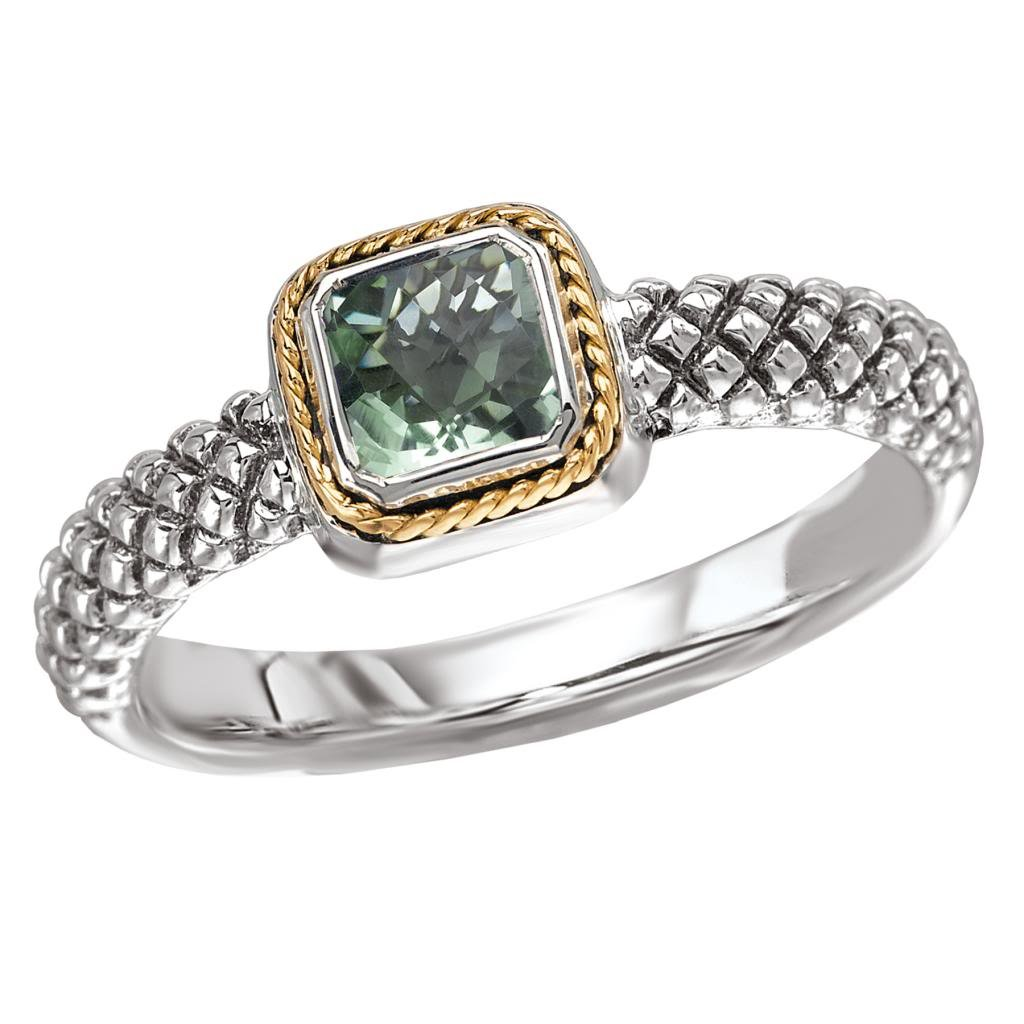925 Silver & Green Amethyst Square Modern Ring with 18k Gold Accents- Size 7