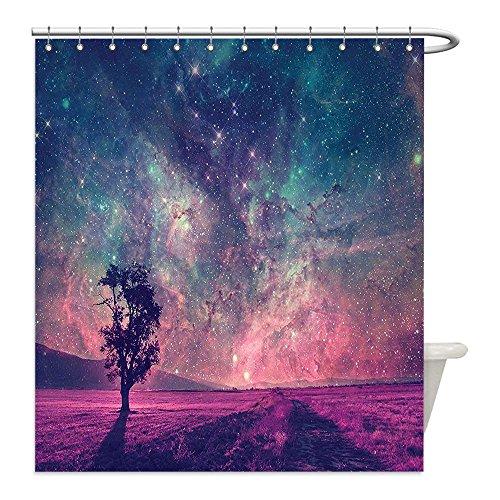 Liguo88 Custom Waterproof Bathroom Shower Curtain Polyester Outer Space Galaxy Decor NASA Furnished Elements Artwork and Lonely Tree Navy Dark Magenta Black Decorative bathroom (Dark Bronze Golden Retriever)