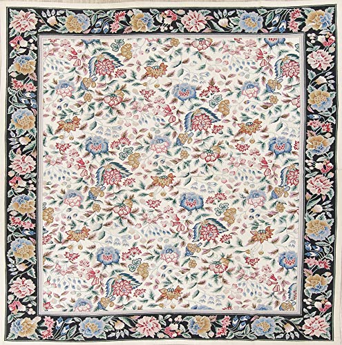 (Rug Source One-of-A-Kind New Aubusson Floral Transitional Hand-Woven 8x10 Beige Wool Oriental Area Rug (9' 11