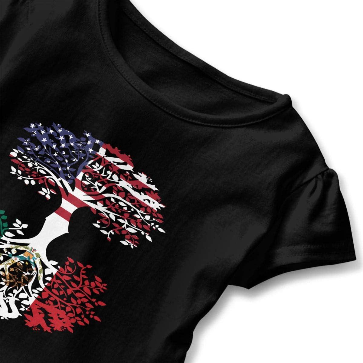 Cheng Jian Bo American Grown W Mexican Toddler Girls T Shirt Kids Cotton Short Sleeve Ruffle Tee