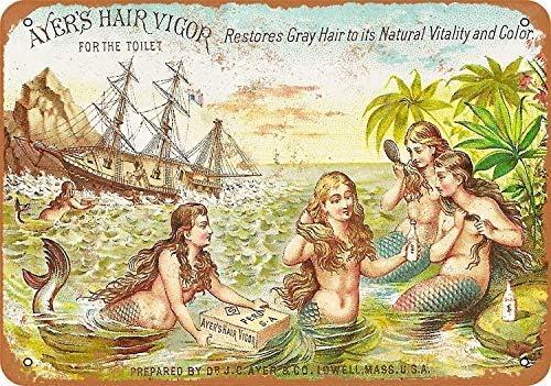panneau en m/étal Ayers Hair Vigor pour bar d/écoration murale Art d/éco caf/é Lionkin8 D/écoration murale vintage 20,3 x 30,5 cm taverne d/îner garage