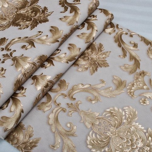 Gold Wallpaper Textured (KALRI 32.8ft x1.738ft Luxury Metallic Gold and Cream Textured Damask Wallpaper Home Room Wall Paper Rolls for Living Room, Bedroom, Bars (WP40936A))