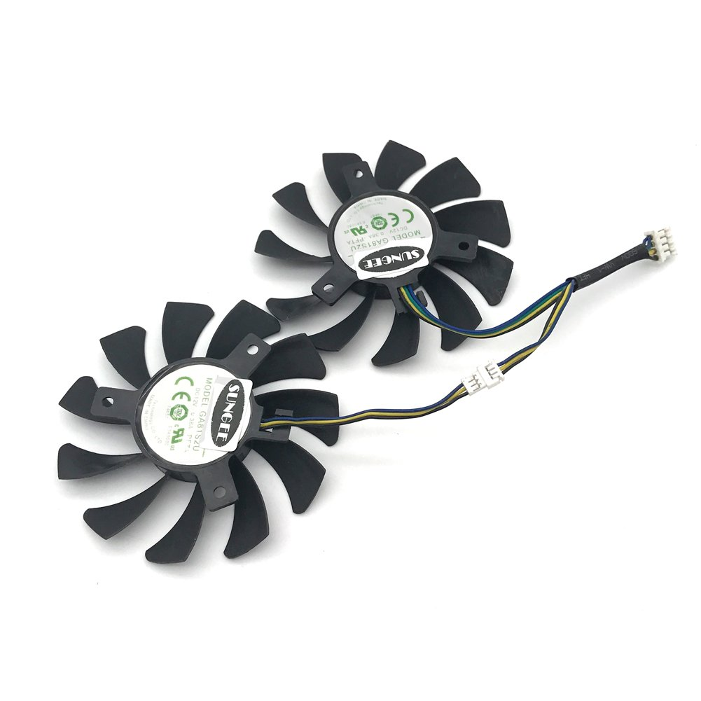 2Pcs/Lot 75mm GA81S2U DC 12V 0.38A 4Pin Dual Cooler Fan 40x40x40MM For ZOTAC Graphics Video Card Fans by Sungee (Image #2)