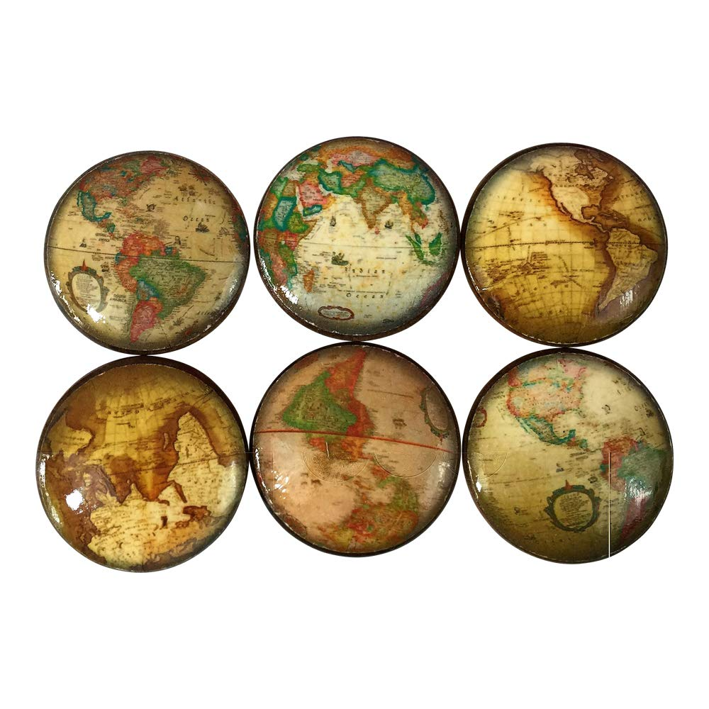 Set of 6 Map of the World Cabinet Knobs