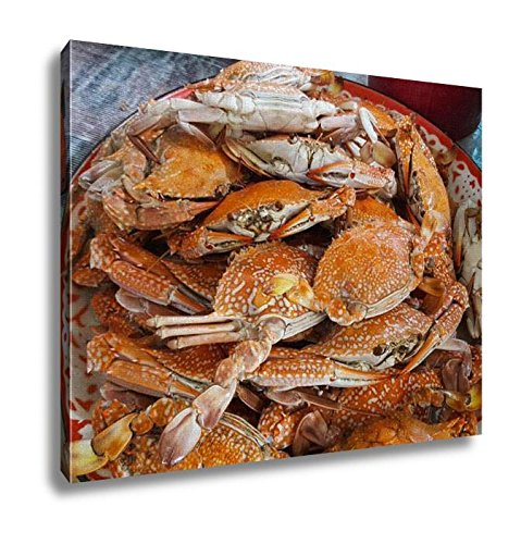 Ashley Canvas Many Of Steamed Crab On The Tray Wall Art Decor Stretched Gallery Wrap Giclee Print Ready to Hang Kitchen living room home office, 24x30 by Ashley Canvas