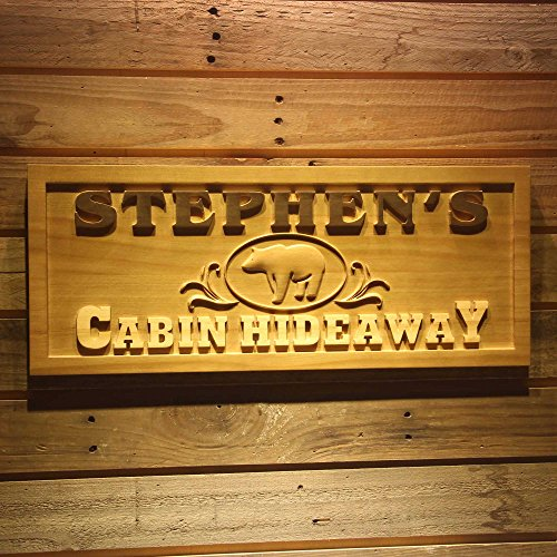 ADVPRO wpa0171 Name Personalized Cabin Hideaway Bear Decoration Wood Engraved Wooden Sign - Standard 23