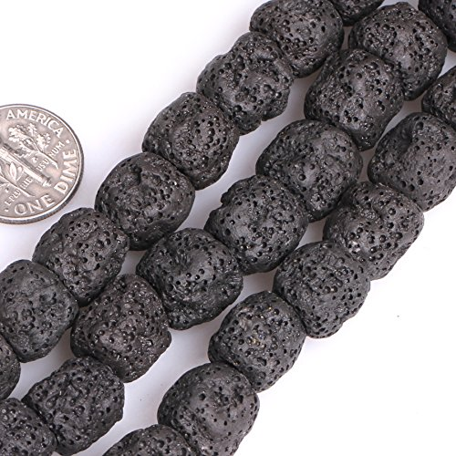Joe Foreman Lava Rock Beads for Jewelry Making Natural Semi Precious Gemstone 12x14mm Cloumn Black Strand 15