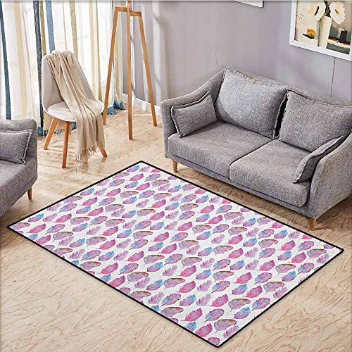 Large Area Rug,Feather,Soft Color Palette Realistic Bird Feather Design Tribal Inspirations,Anti-Static, Water-Repellent Rugs,4