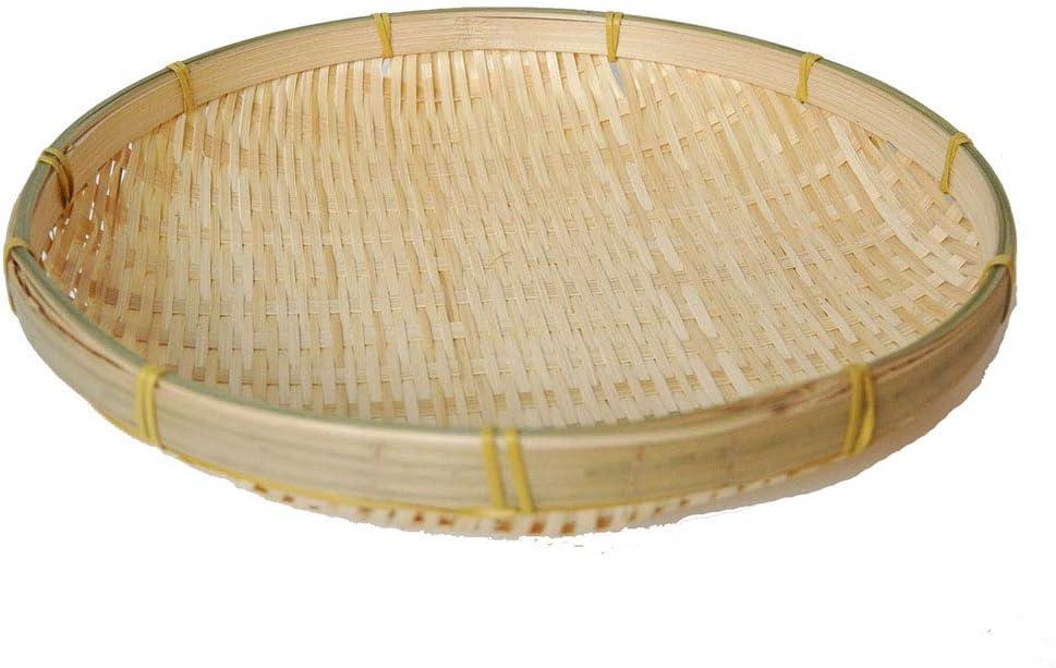 TimesFriend 100% Natural Handmade Woven Bamboo Basket Tray U Shape Holder Bulk Food Flat Shallow Basket Size 5inch 6inch 10inch 15inch Bulk for Customizing (15cm/6