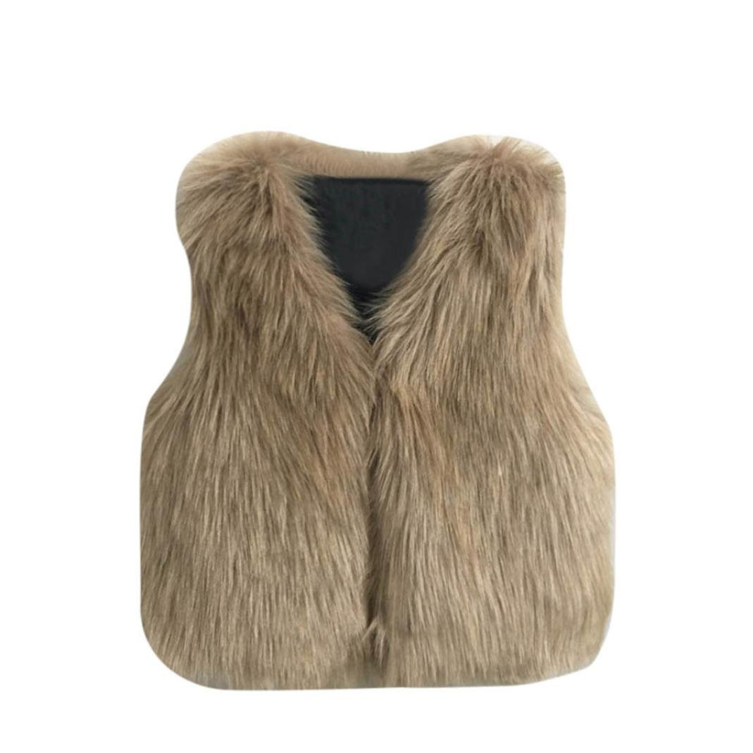 Tenworld Toddler Baby Girl Outerwear Winter Warm Faux Fur Vest Waistcoat (7T, Khaki)