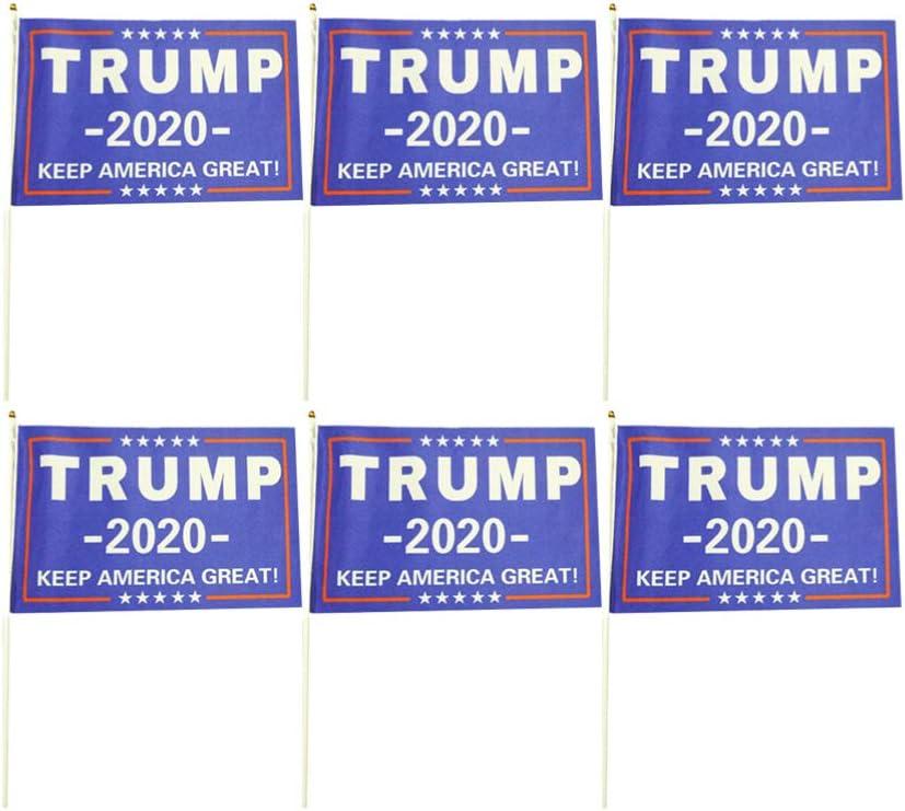 PRETYZOOM 2020 Lot de 20 Drapeaux de Main pour /élection pr/ésidentielle am/éricaine 14 x 21 cm Trump 14 21cm Bleu
