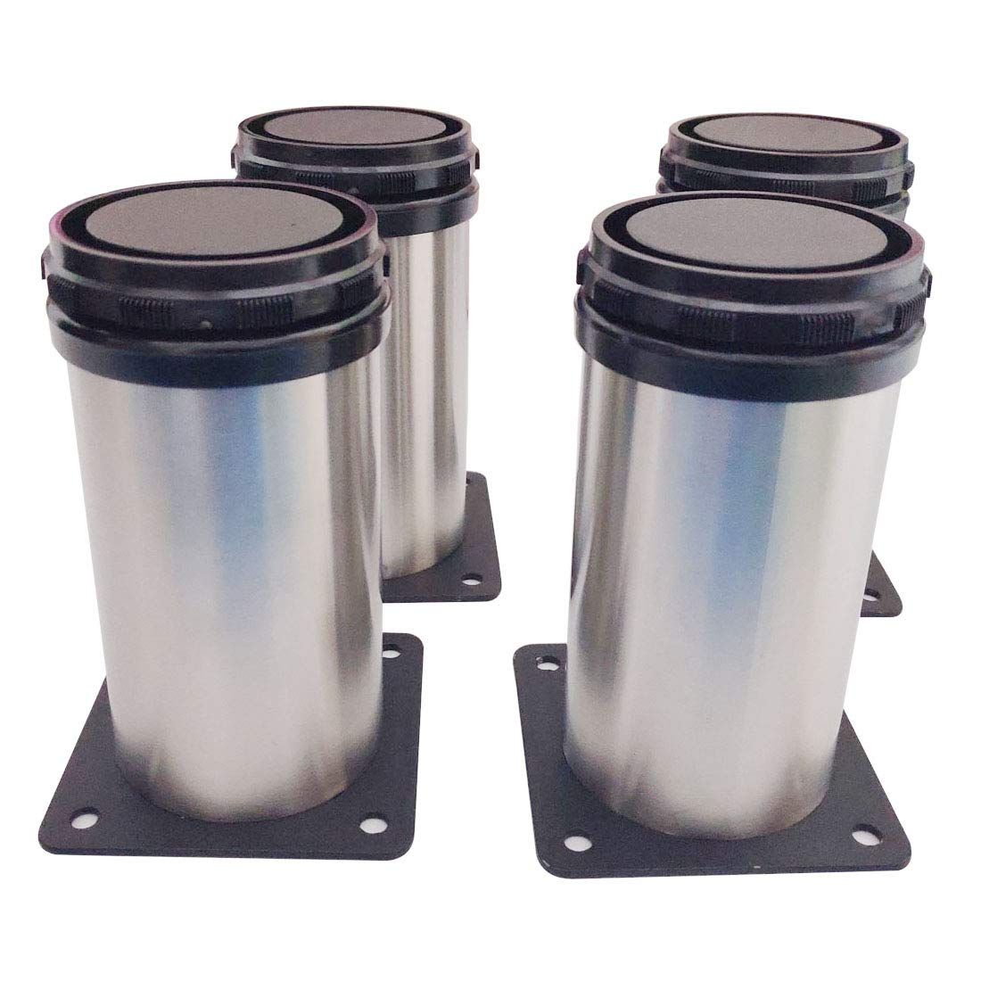 Sipery 4Pcs Stainless Steel Adjustable Furniture Cabinet Legs Kitchen Adjustable Feet Round 50mm//2inch Diameter 4-4.7inch Length